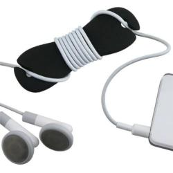 INSTEN Black Soft Silicone Headphone Smart Wrap - Prevents Tangled Headset Wire