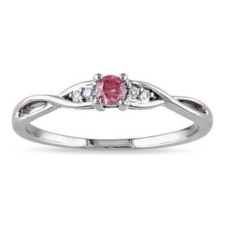 Miadora 10k Gold 1/6ct TDW Pink and White Diamond Ring (G-H, I2-I3)