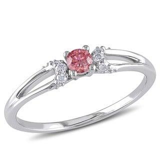 Haylee Jewels 10k White Gold 1/5ct TDW Pink and White Diamond Ring (G-H, I2-I3)