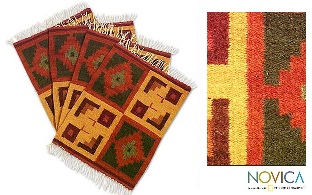 Set of 4 Handcrafted Wool 'Pukio' Placemats (Peru)