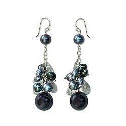 Silver 'Clusters of Blueberries' Pearl Earrings (5.5-8 mm) (Thailand)