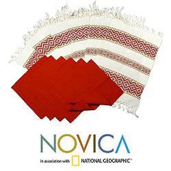 Set of 6 Cotton 'Terracotta Bouquet' Placemats and Napkins (Guatemala)