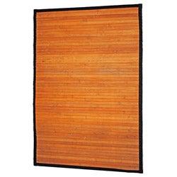 Asian Hand-woven Natural Stripe Bamboo Rug (2' x 3')