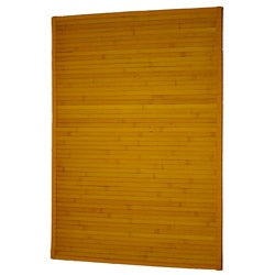 Asian Hand-woven Yellow Stripe Bamboo Rug (2' x 3')