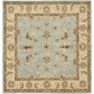 Safavieh Handmade Heritage Kashmar Light Blue/ Beige Wool Rug (6' Square)
