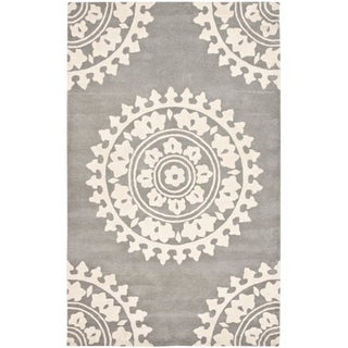 Safavieh Handmade Soho Chrono Grey/ Ivory New Zealand Wool Rug (7'6 x 9'6)