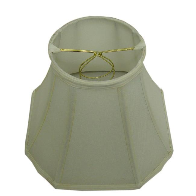 Square-Cut Corner Round-Top Off-White Silk Lamp Shade