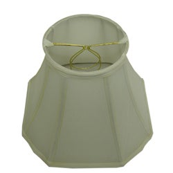 Square-Cut Corner Round-Top Off-White Silk Lamp Shade
