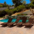 Christopher Knight Home Outdoor Brown Wicker Adjustable Chaise Lounge Chairs (Set of 4)