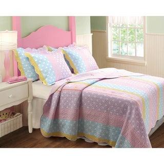 Polka Dot Stripe 3-piece Quilt Set