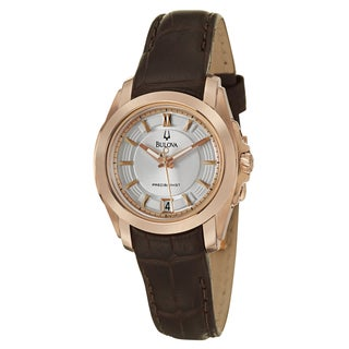 Bulova Women's 97M104 Precisionist 'Longwood' Rose Goldtone Leather Watch