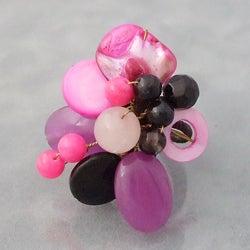 Brass Pink Cluster Multi-gemstone Adjustable Ring (Thailand)