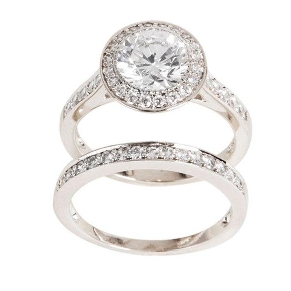 NEXTE Jewelry Silvertone Cubic Zirconia Bridal-Inspired Ring Set