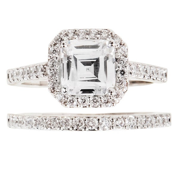 NEXTE Jewelry Silvertone Asscher-cut Cubic Zirconia Bridal-Inspired Ring Set
