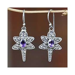 Sterling Silver 'Baby Dragonfly' Amethyst Dangle Earrings (Indonesia)
