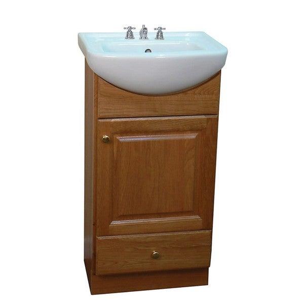Somette Petite 18-inch Oak/Biscuit Bathroom Vanity