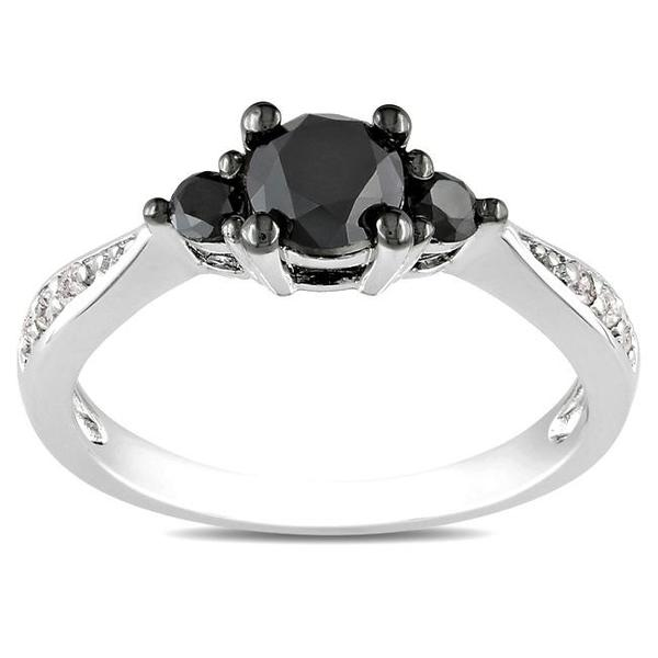 Miadora Sterling Silver 1ct TDW Black and White Diamond 3-Stone Ring (G-H, I3)