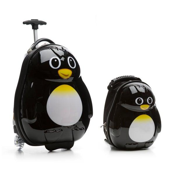 Trendykid Travel Buddies Percy Penguin 2-piece Hardside Kids Carry On Luggage Set