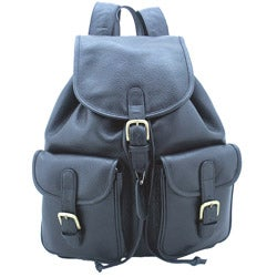 Leatherbay Black 17-inch Leather Backpack