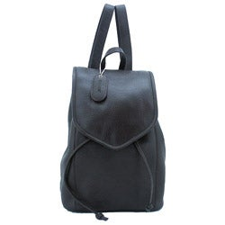 Leatherbay Dark Chocolate 12-inch Flap-over Leather Backpack
