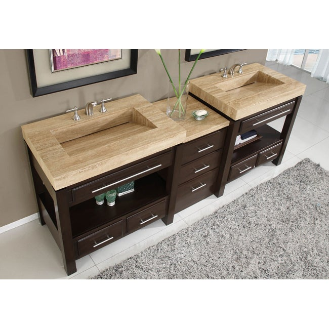 Silkroad exclusive travertine countertop double stone sink bathroom vanity overstock shopping - Double bathroom vanities granite tops ...