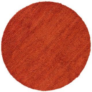 Handwoven Rust-Orange Mandara New Zealand Wool Shag Rug (7'9 Round