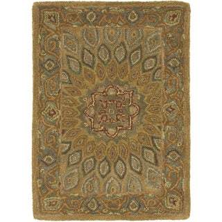 Safavieh Handmade Heritage Medallion Light Brown/ Grey Wool Rug (2' x 3')