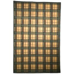 Safavieh Transitional Hand-Knotted Lexington Beige Plaid Wool Rug (7'6
