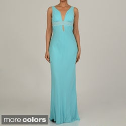 Issue New York Women's Lace-trimmed Deep V-neck Keyhole Evening Dress