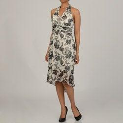 Issue New York Women's Floral Silk Halter Flounce Hem Evening Dress