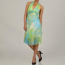 Issue New York Women's Abstract Silk Chiffon Halter Dress