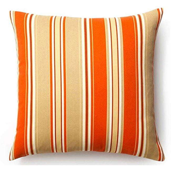 Orange 20x20-inch Thick Stripes Outdoor Pillow