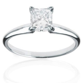 14kt White Gold 1ct TDW Princess Diamond Solitaire Ring (J-K, I2-I3)