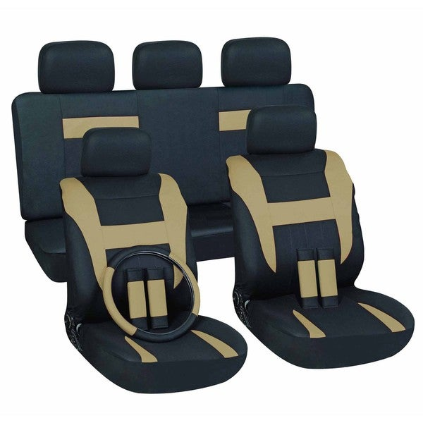 Tan/ Black 16-piece Car Seat Cover Set