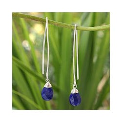 Handcrafted Sterling Silver 'Sublime' Lapis Lazuli Earrings (Thailand)