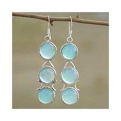 Sterling Silver 'Blue Dew' Blue Chalcedony Drop Earrings (India)