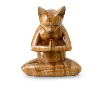 Suar Wood 'Kitty Cat Prayer' Sculpture (Indonesia)