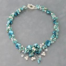 Reconstructed Turquoise, MOP and Pearl Hidden Floral Necklace (4-8 mm)