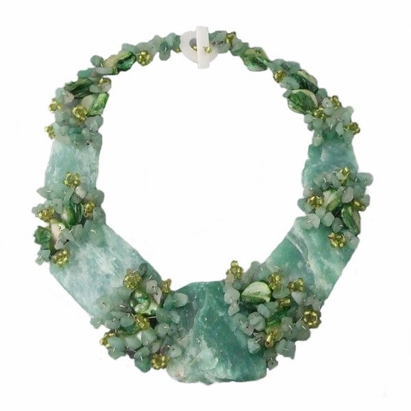 Chunky Jade and Mother of Pearl Link Necklace (Philippines)