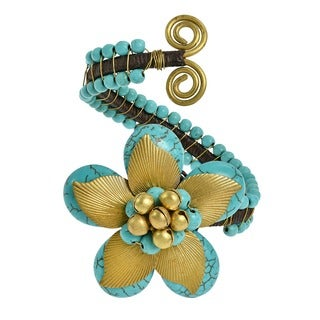 Brass Leaf Nature's Love Howlite or Turquoise Floral Jingle Cuff (Thailand)