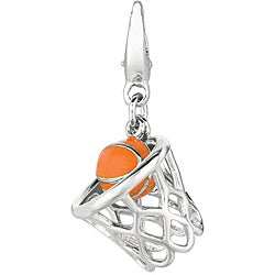 Sterling Silver 3D Basketball in Hoop Charm