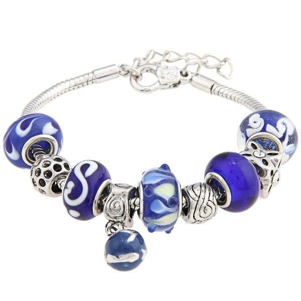 La Preciosa Snake-chain Polished-brass Blue Glass-bead Charm Bracelet
