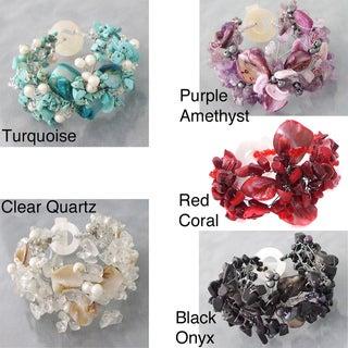 Turquoise/ Pearl/ Shell Hidden Flower Bracelet (5-8 mm) (Philippines)
