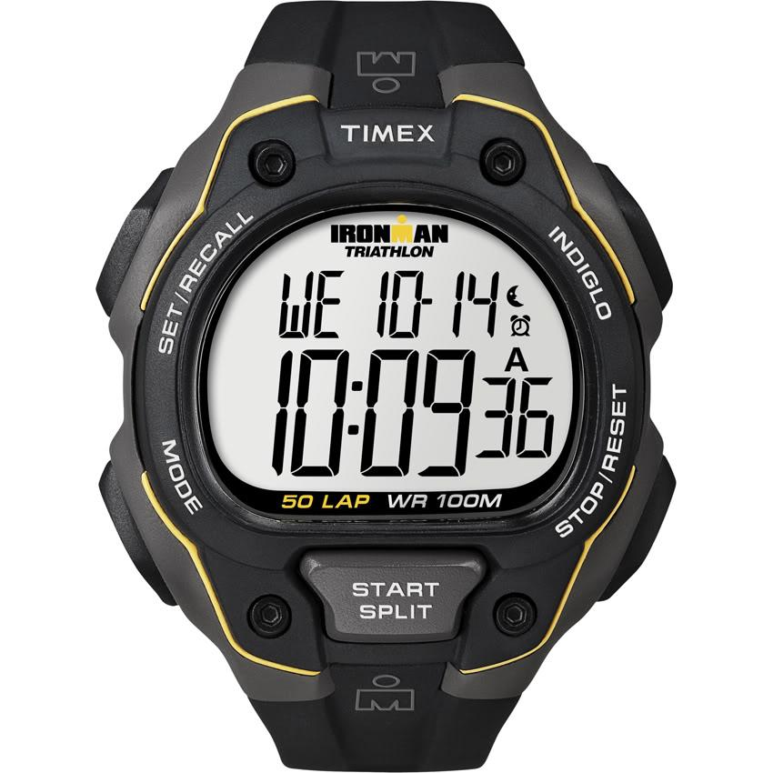 Timex Men's T5K494 Ironman Traditional 50-Lap Black/Grey/Yellow Watch