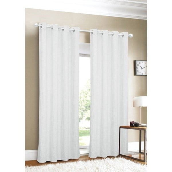 Luxury Linen Grommet Top 96-inch White Curtain Panel