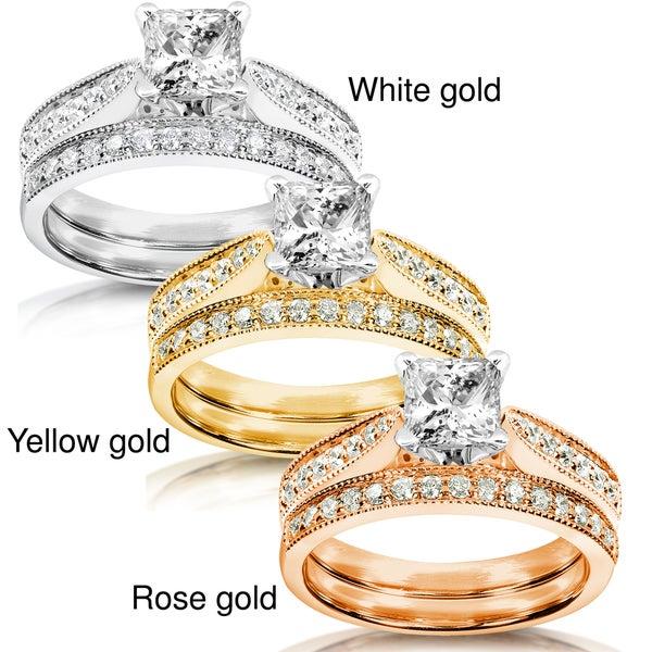 Annello 14k White Gold 1 1/3ct TDW Diamond Bridal Ring Set (H-I, I1-I2)