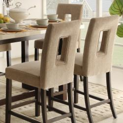 Camille Beige Fabric Upholstered Counter Height Stool Set Of 2 Overstock