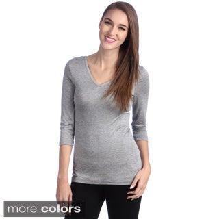 24/7 Comfort Apparel Women's Reversible 3/4-Sleeve Top