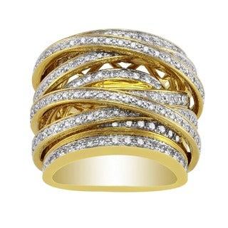 Beverly Hills Charm 10k Gold 1 1/2ct TDW Diamond Multi-Row Crossover Ring (H-I, I1-I2)