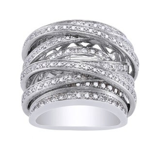 Beverly Hills Charm 10k White Gold 1 1/2ct TDW Diamond Wide Crossover Ring